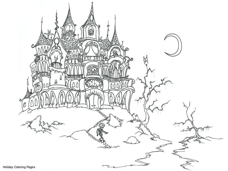 Scary Coloring Pages for Teens   Scary House Coloring Pages, Printable Scary House Coloring Sheets ...