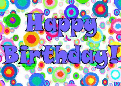 Vrolijke verjaardagskaart met vrolijke kleuren en tekst Happy Birthday. Je kan je eigen tekst toevoegen aan deze kaart.