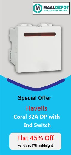 Havells Coral 32A DP with Ind. Switch- a perfect build of interior designer simplicity & durability .Shop at http://bit.ly/2d2zv9e for affordable prices. To place orders,call or whatsapp to 9019156789