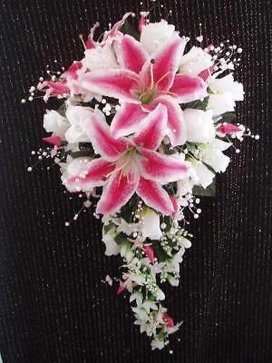 Boda 2 piezas ramo de novia stargazer lirio blanco marfil y flor en el ojal