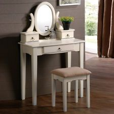 Lovely Oval Mirror Antique White Vanity Set Make Up Table with 3 Drawers Bench