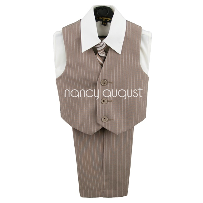 Baby Boy Brown Pinstripe Suit Vest Set with Ivory Shirt & Stripe Tie: We are not going to forget the stylish little boys! They might be small but they also need some hand for their makeover. Take a look at this dashing brown pinstripe infant boy vest set that is an absolute splendor of a design. The ivory button down dress shirt comes with a matching brown stripe tie and pocket square we know that you won't find anything like this for your little boy of yours in the kids section.