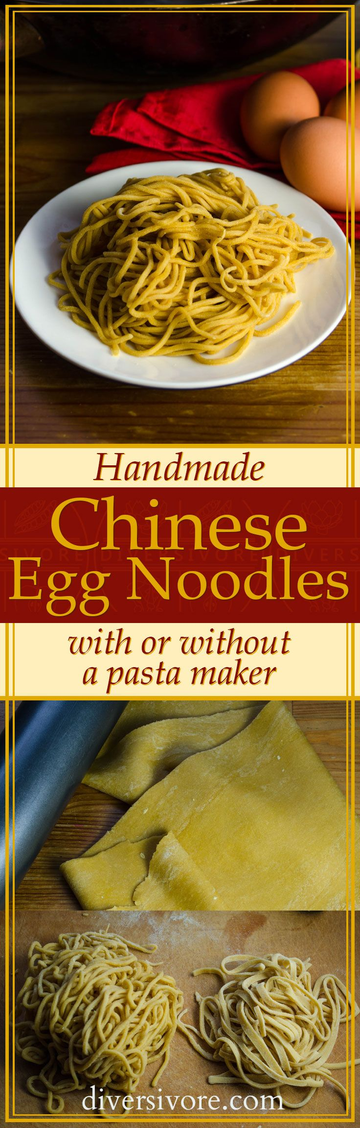 Homemade Chinese Egg Noodles (with or without a pasta maker!) #sponsored by BC Egg #ChineseFood