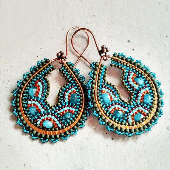 Copper Peacock Hoop Earrings, Beaded Bead Earrings