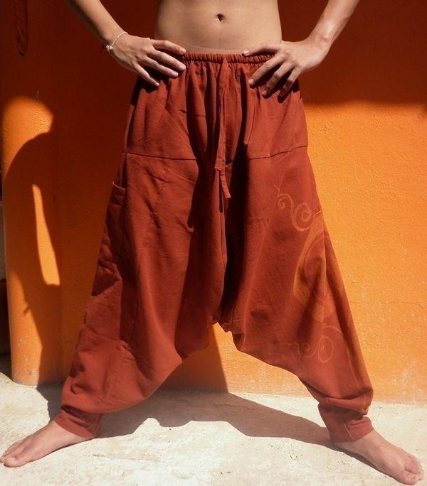 Harem Aladdin Taglia Unica Cavallo Basso Pantaloni Yoga Danza Boho Larghi Hippy