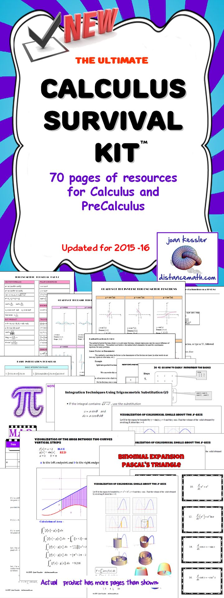 17 best ideas about precalculus algebra algebra calculus survival kit over 70 pages references for calculus and precalc