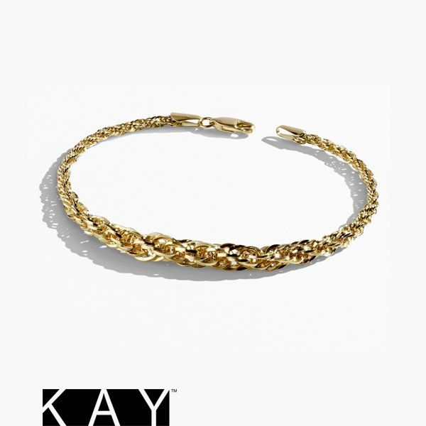 The Gift Of Love Is Golden This Graduated Yellow Gold Rope Chain Bracelet Says It All Bracelets Gold Rope Chains Bracelets For Men