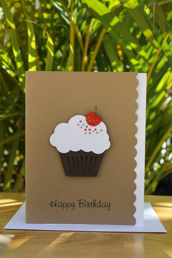 Happy Birthday Cupcake Card by CraftedbyLizC on Etsy