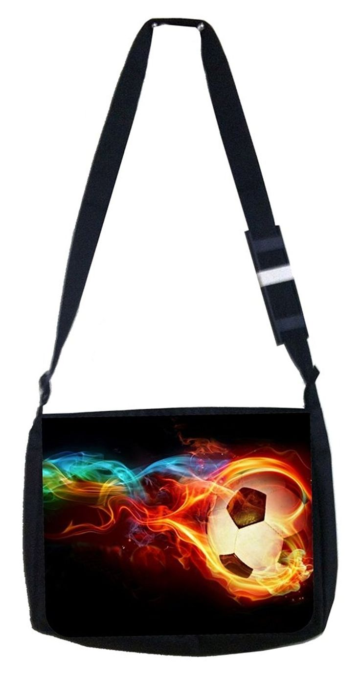 Flaming soccer ball Rosie Parker Inc. TM Medium Sized Messenger Bag 11.75' x 15.5' and 4.5' x 8.5' Pencil Case SET >>> Click on the image for additional details.