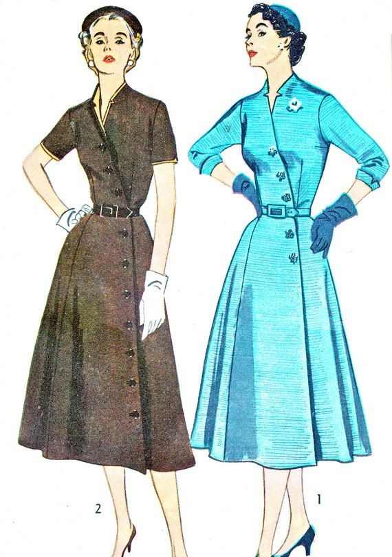 1950s Dress Pattern Simplicity 4087 Flared Skirt Surplice Bodice Day or Evening Dress Side Button Trim Womens Vintage Sewing Pattern Bust 32