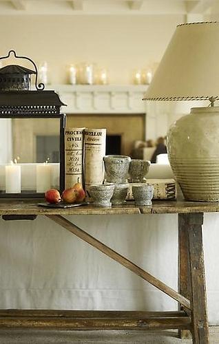 Lantern, sofa table