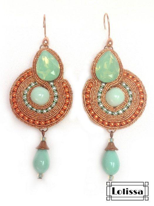 Soutache earrings Copper by Lolissa on Etsy