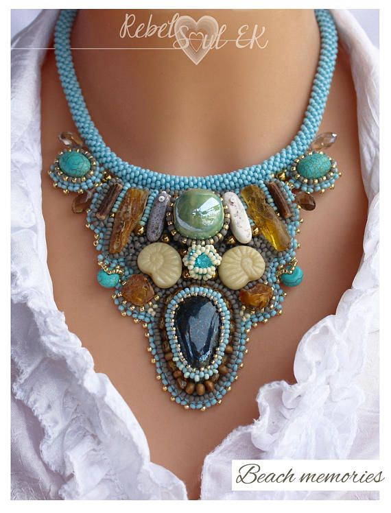 Natural amber beach necklace turquoise necklace mermaid
