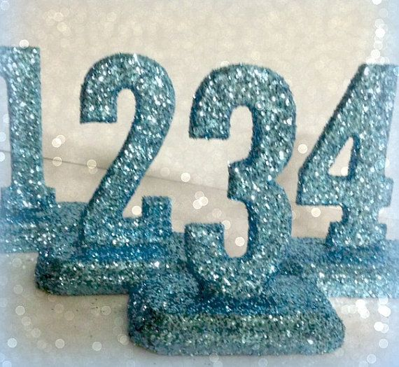 #GLITTERED #TABLE NUMBERS  #wedding décor #Bat Mitzvah  #Quinceanera
