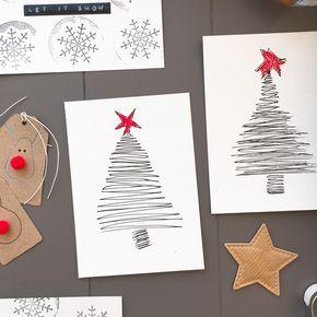 Basteln mit Papier – einfache WOW-Weihnachtskarten in nur zwei Minuten ~ Grüsse und Sprüche zu Weihnachten, Karten basteln Ideen