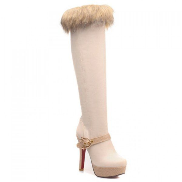 Wholesale Trendy Imitation Fur and Buckle Design Women's Knee High Boots Only $20.46 Drop Shipping | TrendsGal.com