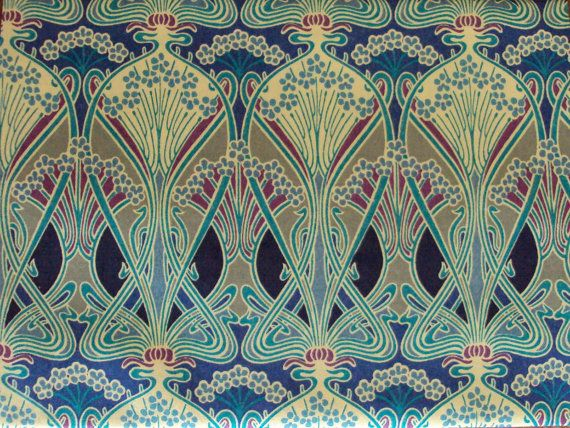 Vintage Tana Lawn Libert of London Art Nouveau Fabric. I love Art Nouveau design and these colors are great! The sage-y green color would be a great wall color, and I never would have put those punchy colors with it!