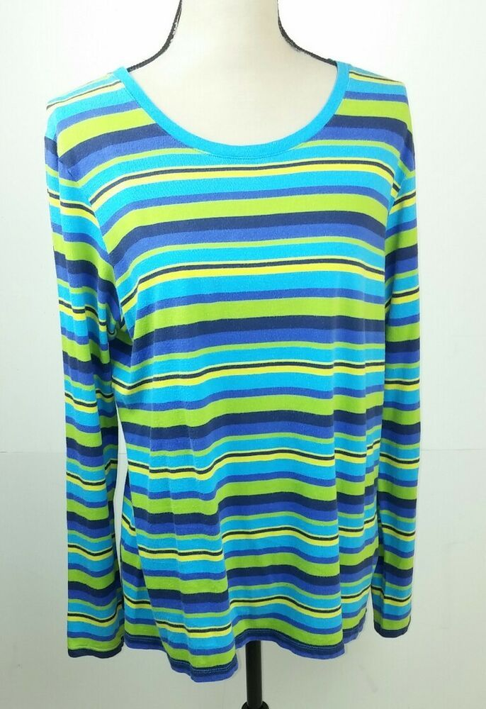 533d42cdeb Old Navy Women's XL Shirt Striped Teal Yellow Black Blue Long Sleeve Cotton  #OldNavy #Blouse #Casual