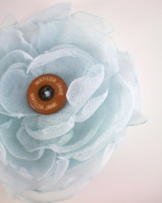 Blue mesh flower hair clip, Matilda Jane mesh bag, girls hair accessory