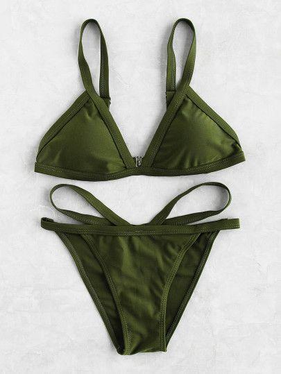 85486d3843 Strappy Triangle Bikini SetFor Women-romwe | Fashiøn | Bikinis ...