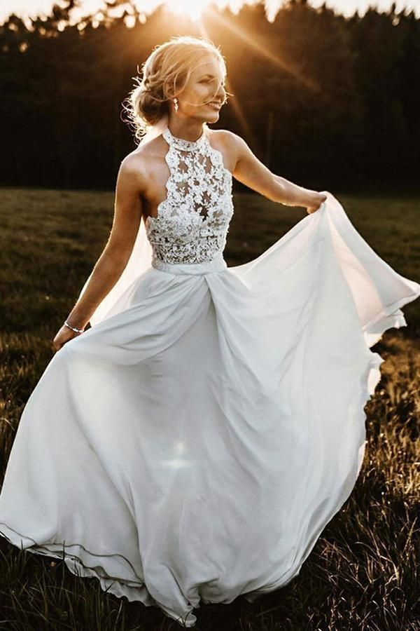 Einfacher a-line Halfter ärmelloses Chiffon- langes Strand-Sommer-Hochzeitsklei…