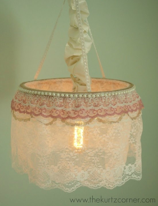 DIY ~ Shabby Chic Chandelier {Tutorial} made from a hula-hoop and embellishments ~ cute ~ From: The Kurtz Corner