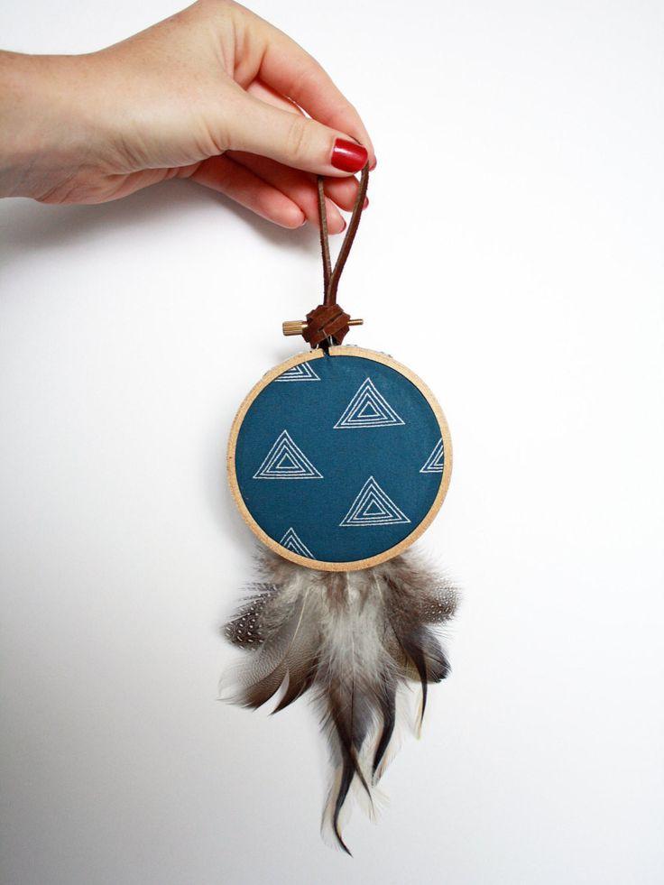 Modern Boho Home Decor - Holiday Gift Idea - Modern Handmade Dream Catcher - Blue Dreamcatcher - Boho Wall Hanging - Bohemian Wall Art - Shop Junylie  - 4
