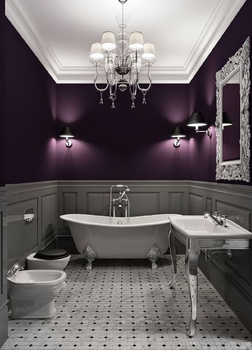 Dark purple and gray bathroom. I think it's too moody for my bathroom, but I would love a dining room like this.