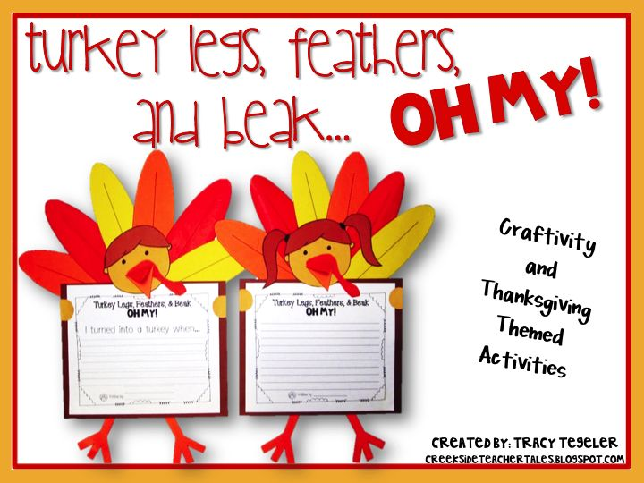 Cute idea for how to make a turkey and writing together