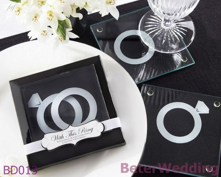 With This Ring Unique Stackable Glass Coasters Wedding Favors
