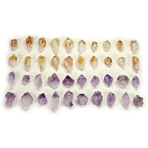 Hypnotic Gems Materials: 30 pcs Amethyst and Citrine Points - Small