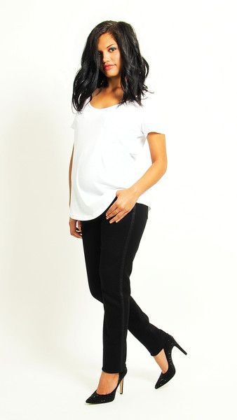 Black maternity Jean with a spin - tuxedo skinny jean by EGG