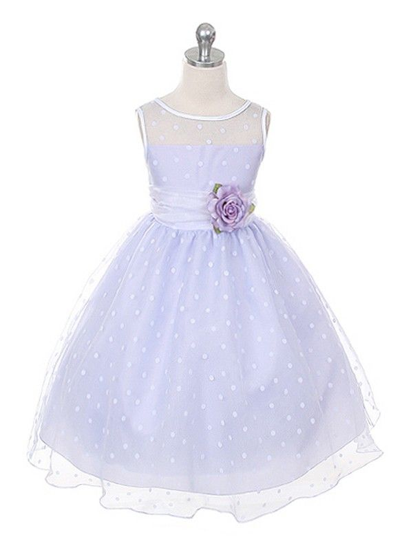 Lilac  Lovely Polka Dots Flower Girl Dress (size:Infants to 12 in 5 colors)