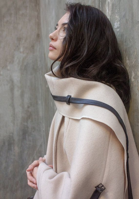 Ivory wool coat with chunky scarf and leather by ExlibrisClothing