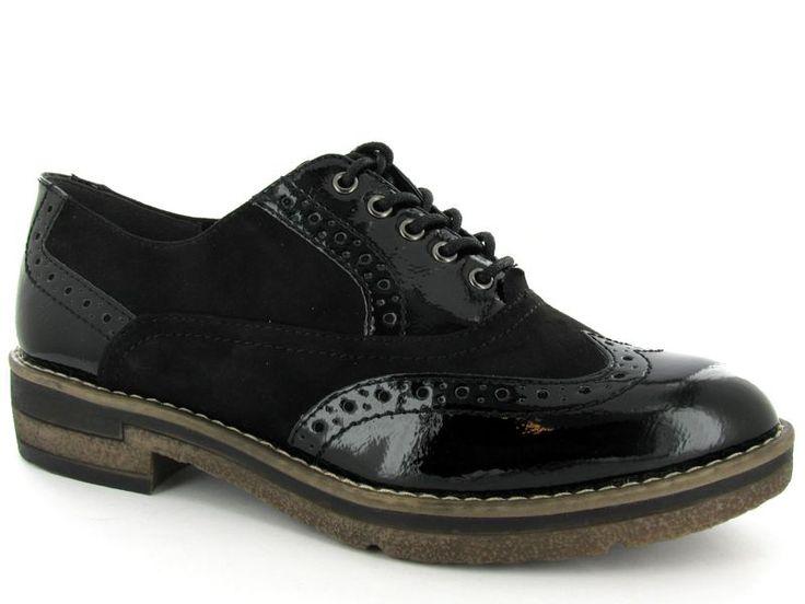 Zwarte veterschoenen van het merk Tamaris, model 1-1-23616-29. Nieuwe collectie! €69,95 #tamaris #fallwinter #shoes #schoenen #veterschoenen #brogues #nieuwecollectie