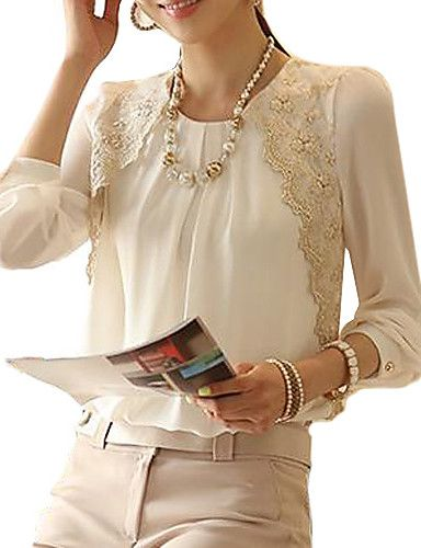 Women's Formal / Work Vintage Spring / Summer / Fall / Winter Blouse,Solid Crew Neck Long Sleeve White Others Thin 1461942 2016 – $8.99