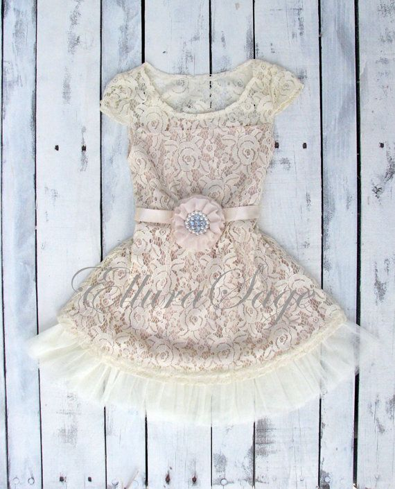 Lace rustic flower girl dress champagne lace dresses by ElluraSage