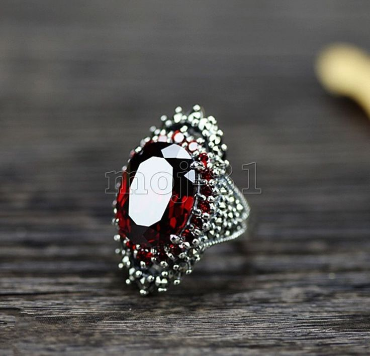Fashion Women's 925 Sterling Silver Red Ruby & Marcasite Ring Jewelry Size 7-10