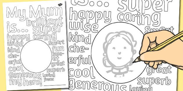 Mother's Day Describing Words Drawing and Colouring Sheet - twinkl