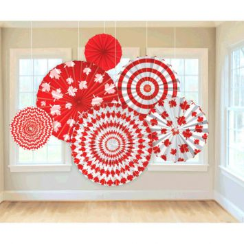 50% OFF: Canada Day Hanging Fans - 6 Pack Party Supplies Canada - Open A Party