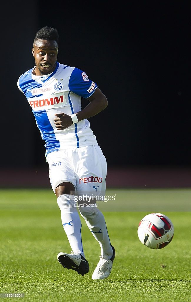 Grasshopper Club midfielder Nzuzi Toko controls the ball during the Swiss Super League football match between Grasshopper Club and BSC Young Boys held at the Letzigrund stadion on May 4, 2014 in Zurich, Switzerland.