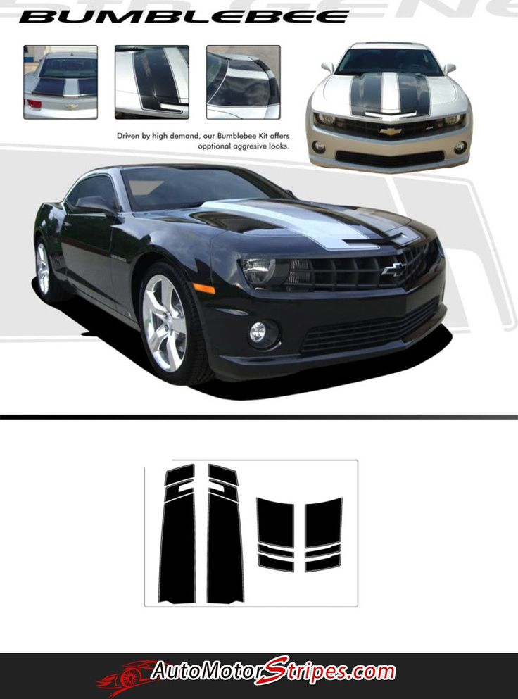 2010-2013 or 2014-2015 Chevy Camaro Bumblebee Style Racing Stripes Rally 3M Vinyl Graphics Kit for SS RS LS LT Models
