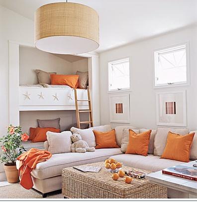 Casual bunk roomGuest Room, Ideas, Beach House, Bunk Beds, Colors, Living Room, Bonus Room, Families Room, Bunkbeds