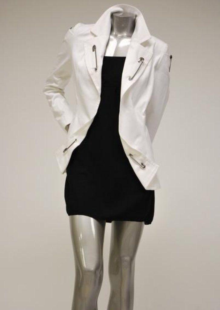 Womens Cotton White Blazer Sale - Safety Pin Embellishments