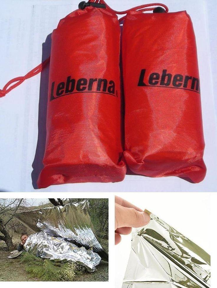 2 PCS Outdoor Thermal Sleeping Bag Emergency Survival Blanket Hiking Travel Gear #Lebenra