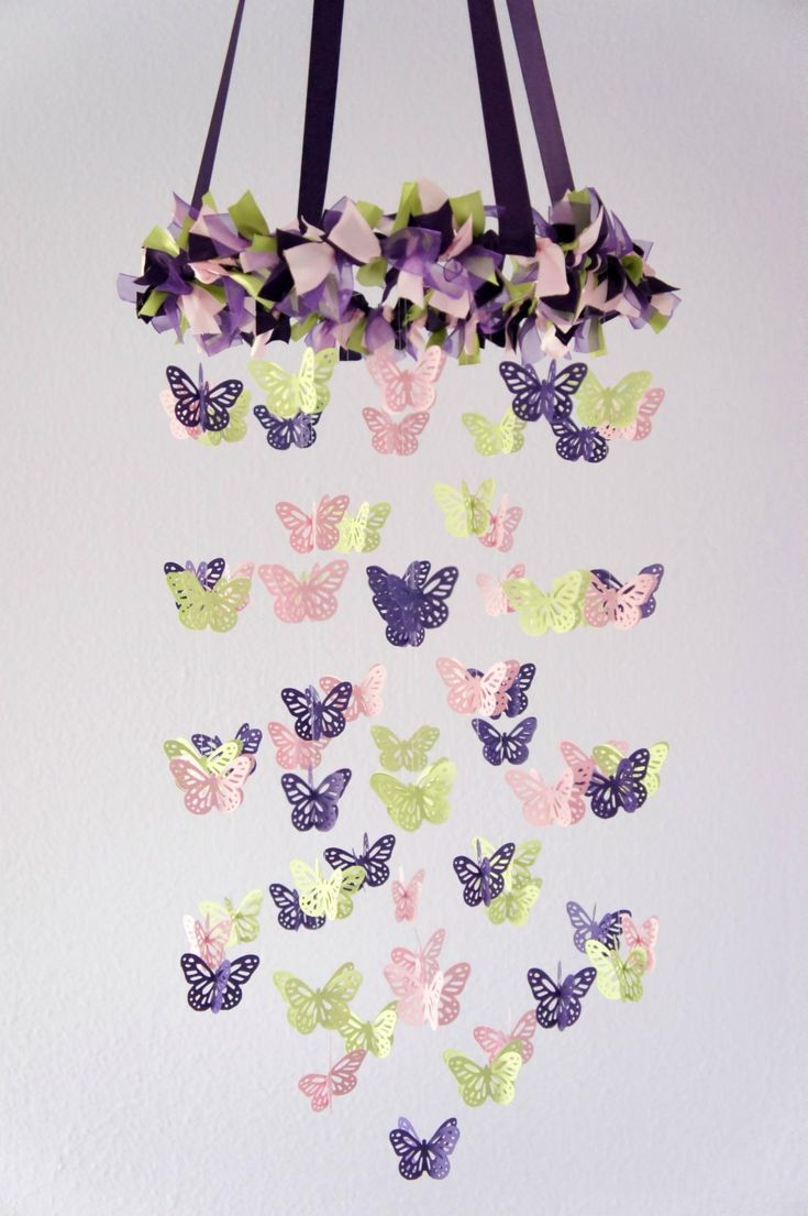 Butterfly Mobile- Purple, Pink, Green Baby Mobile....Love it, 2 of my favorite things!!!! Purple and Butterflys