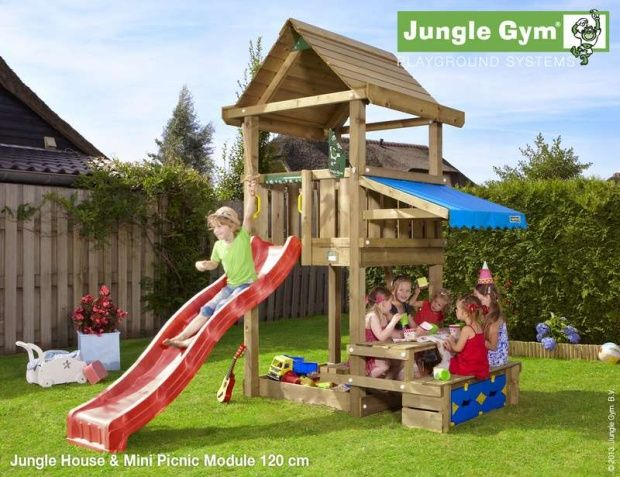 Jungle gym with picnic table - so cute