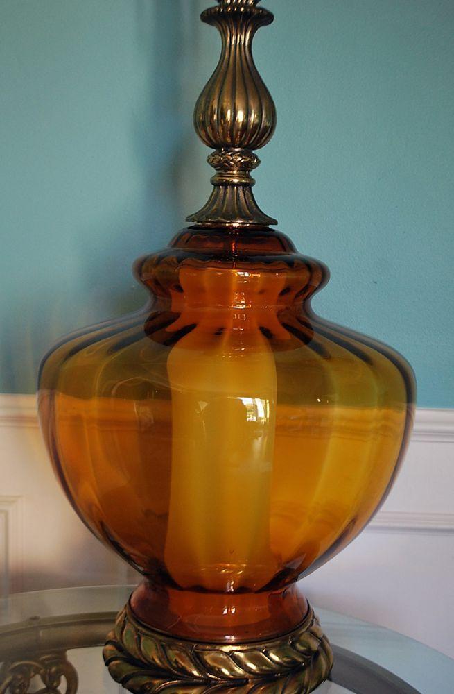 Vtg Hollywood Regency Amber Globe Table Lamp Optic Glass