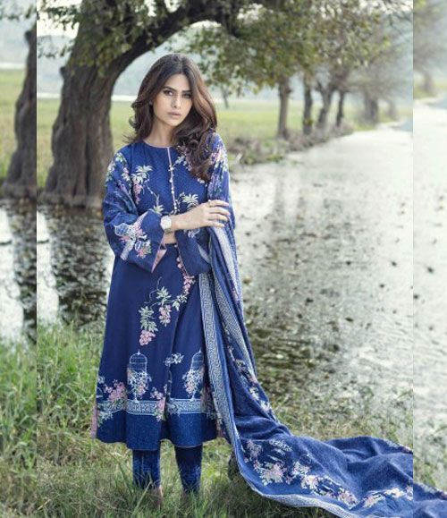 Maria B Embroidered Linen Suits collection BLUE DL-306