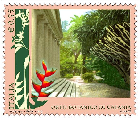 """Francobolli della serie tematica """"Parchi, giardini ed orti botanici d'Italia"""" dedicato all'Orto Botanico di Catania."""